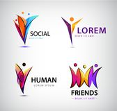 Vector set of human logos. Men group, leader, social group, net. Web communication icons Stock Photo