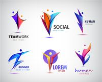 Vector set of human, man logos, icons. e stock illustration