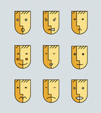 Vector set of human moods, avatars, faces Stock Images