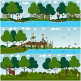 Vector set of hunter concept flat posters, banners. Vector set of hunter posters, banners with men hunting deer, fishing while sitting in boats and on pier. Flat Stock Photography