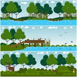 Vector set of hunter interior flat posters, banners. Vector set of hunter interior posters, banners. Nature landscape, places for hunting, fishing. Flat style Royalty Free Stock Images