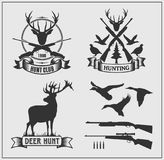 Set of hunting club labels, badges and design elements. Vector set of hunting club labels, badges and design elements Royalty Free Stock Image