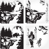 Vector set of hunting concept design elements in flat style Royalty Free Stock Image