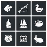 Vector Set of Hunting Icons. Dog, Gun, Duck, Alcohol, Lake, Ear, Bear, Season, Rabbit. vector illustration