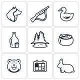Vector Set of Hunting Icons. Dog, Gun, Duck, Alcohol, Lake, Ear, Bear, Season, Rabbit. royalty free illustration