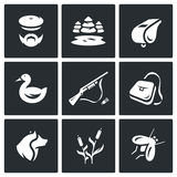 Vector Set of Hunting Icons. Hunter, nature, whistle, duck, rifle, bag, dog, cane, mosquito. royalty free illustration