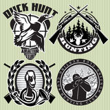 Vector set of hunting label with wild ducks and deer head. Vector set of hunting labels with wild ducks and deer head Royalty Free Stock Image