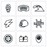 Vector Set of Hydroelectric Station Icons. Lamp, Dam, River, Electricity, Helmet, Barbed Wire, Turbine, Battery, Pointer Stock Photos