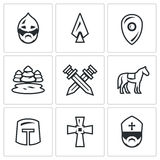 Vector Set of Ice Battle Icons. Warrior, Spear, Shield, Lake, Forest, Crossed, Swords, Knight, Crusader, Cross, Priest. Royalty Free Stock Photos