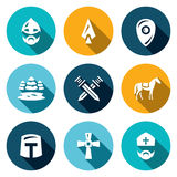 Vector Set of Ice Battle Icons. Warrior, Spear, Shield, Lake, Forest, Crossed, Swords, Knight, Crusader, Cross, Priest. Royalty Free Stock Images