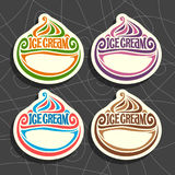 Vector set of Ice Cream Labels Stock Photography
