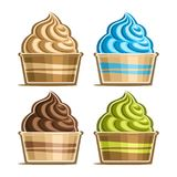 Vector set of Ice Cream in paper cup. Variety soft serve sundae in cardboard tub box for menu cafe takeaway, icons of italian fruit swirl ice cream, vegan Stock Photography