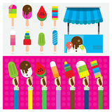 Vector set ice cream symbol hand and arm Stock Photography