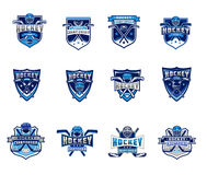 Vector set of ice hockey badges, stickers, emblems Royalty Free Stock Photo
