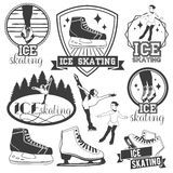 Vector set of ice skating emblems, badges, logos, banners and design elements. Isolated monochrome illustrations in Royalty Free Stock Photography