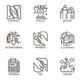 Vector set icon business. Black flat line vector set icon with a picture of a symbol business process and conducting business on white background Stock Image