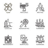 Vector set icon business. Black flat line vector set icon with a picture of a symbol business process and conducting business on white background Royalty Free Stock Images