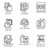 Vector set icon business. Black flat line vector set icon with a picture of a symbol business process and conducting business on white background Royalty Free Stock Photos
