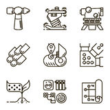 Vector set icon construction. Black flat line vector set icon with a picture of a symbol construction engineering build  on white background Stock Image