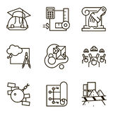 Vector set icon construction. Black flat line vector set icon with a picture of a symbol construction engineering build  on white background Royalty Free Stock Photography