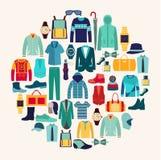 Vector set icon of Fashion collection of man wardrobe. Stock Photos
