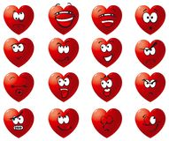 Vector Set icon of hearts. Many hearts with smile, laughter, anger, malice, cry, love, hate and others Royalty Free Stock Images