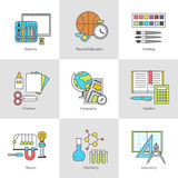 Vector set icon school supplies flat with contour Stock Image