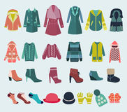 Vector set icon of winter clothes and accessories Stock Photography