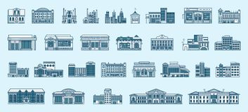 Vector set  icons architecture buildings linear style. Vector set  icons architecture buildings structures bank, pharmacy, school, office building, Town Hall Stock Photography