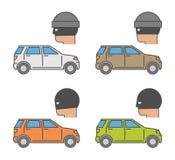 Vector set icons auto theft Royalty Free Stock Photos