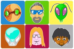Vector set from 6 icons of avatars. Illustration of icons of 6 characters from comics Stock Image