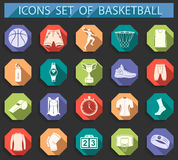 Vector set of icons basketball in flat style Stock Photo