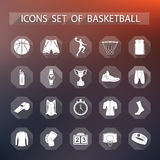 Vector set of icons basketball in flat style Stock Photos