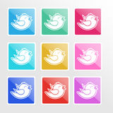 Vector set of icons with birds. Royalty Free Stock Image