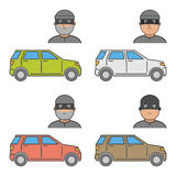 Vector set icons car theft Stock Image