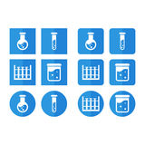 Vector set of icons for chemistry for slat style Royalty Free Stock Photography