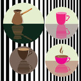 Vector set of icons with coffee, cafetier. Background for cafe Stock Image