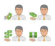 Vector set of icons of corruption. The Corruptor and bribery. The fight against corruption and bribery Royalty Free Stock Photo