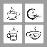 Vector set of icons of cups of coffee on a white backgrounds Stock Photo