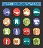 Vector set of icons on cycling. Bicycles. Isolated  bike accessories set. Spare parts for bicycle  big icons set. Stock Vector Royalty Free Stock Photo