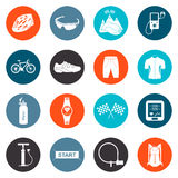 Vector Set of Icons about Cycling Royalty Free Stock Images