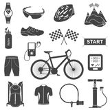 Vector set of icons about cycling on a white background. Bicycles. Isolated  bike accessories set. Spare parts for bicycle  big icons set. Stock Vector Royalty Free Stock Photo