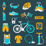 Vector set of icons about cycling on a white background Royalty Free Stock Image