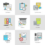 Vector set of icons documents, management and control. Conceptual icon set office objects marketing, management, and working with documents. Modern design with Royalty Free Stock Photography