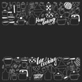 Vector set of icons in doodle style. Painted, black monochrome, chalk pictures on a blackboard stock illustration