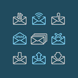 Vector Set of icons E-mail. Vector Set of icons E-mail on a blue background Stock Photography