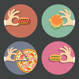 Vector set of icons fast food royalty free stock photography