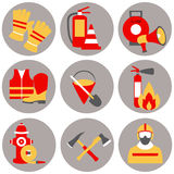 Vector set icons of firefighting equipment  illustration Stock Photos