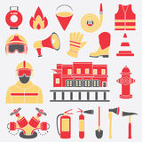 Vector set icons of firefighting equipment  illustration Stock Photo