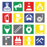 Vector set icons of firefighting equipment  illustration Royalty Free Stock Photos